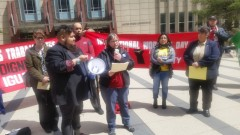 President of AFSCME Local 3800 speaking on upcoming May Day march.