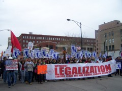 Banner: Without legalization there can be no equal labor rights