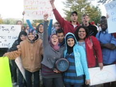 Over 500 people in Chicago protested the FBI raids on anti-war activists.