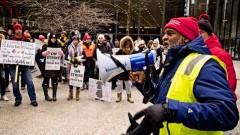 Chicago Teachers Union CICS strike captain Jamal Barnes fires up union strikers.