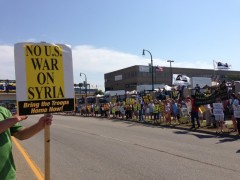 More than 300 people join protest against Syria war.