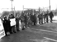 This is a photo of protesters at the Sikorsky Helicopter plant.