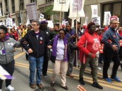 In the front of the march, President Dian Palmer of SEIU Local 73 (in middle)