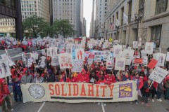 Chicago Teachers Union (CTU) and SEIU Local 73 strikers march