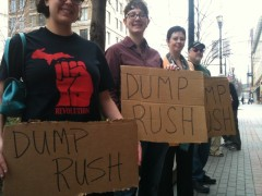 Grand Rapid protest demands 'Dump Rush'