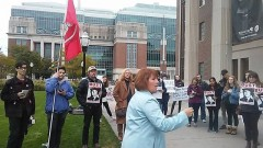 Erin Murphy, speaking at U of MN SDS rally.