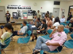 Meeting to commemorate the Chicano Moratorium Day of Resistance.