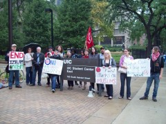 Members of SDS and allies rally at UIC against anti-muslim bigotry.