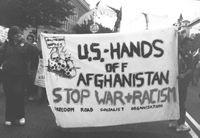 Banner reading US hands off Afghanistan