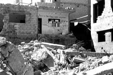 A bombed apartment building in Gaza