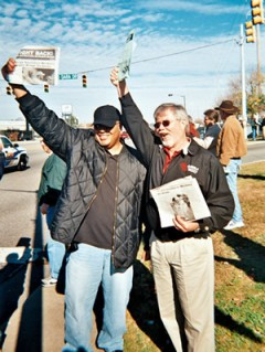 Men on picket line