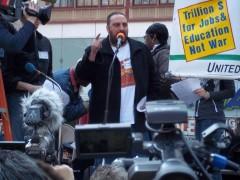 Hatem Abudayyeh speaking at April 9 anti-war protest in NYC