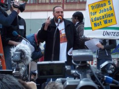 Hatem Abudayyeh speaking at April 9, 2011 anti-war protest in New York City