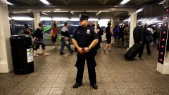NYPD officer in the subway station. (FightBack!News/Getty Images)