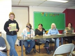 Sarah Martin, Jess Sundin, Luce Guillen Givins, Sarah Jane Olson, and Tracy Molm