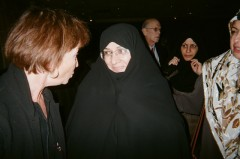 Sara Martin talking with Azam al-Sadat Farahi, wife of Iranian Pres. Ahmadinejad