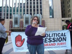 Jess Sundin demands end to investigation of anti-war activists.