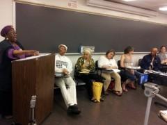 Betty Davis, Rev. Pinkney, Pam Africa, Jess Sundin, Sue Udry, Ralph Poynter and