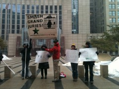 Supporters of grand jury resister Jordan Halliday in front of the Federal Court
