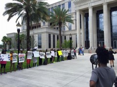 Latrelle Worth gives a speech to the Justice for D'Angelo Stallworth rally.