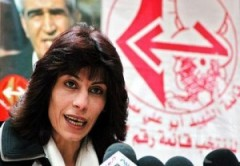 Khalida Jarrar, member of the Political Bureau of the Popular Front  for the Li