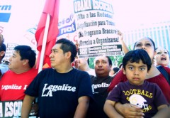 A photo of Latino workers at the rally.