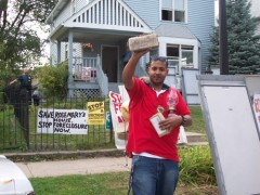 Tyrone Williams at conclusion of battle to stop foreclosure of their house