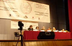 A photo of Leila Khaled speaking.