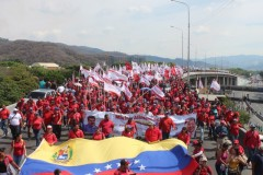 Mass march in support of Bolivarian revolution.