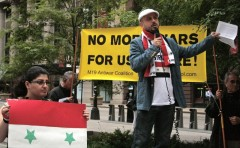 Dr. Matar speaking at Chicago protest.