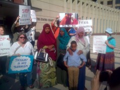 Mothers of Guled Omar, Abdirahman Daud and Mohamad Farah at May 26 protest deman