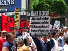 Marcha en LA. Una pancarta: Obama! Escucha!