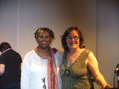 Cynthia McKinney and Meredith Aby of the Twin Cities Anti War Committee