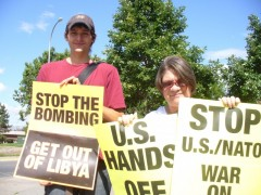 "Minneapolis protest demands ""Hands off Libya."""