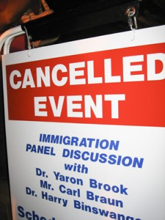 Sign showing cancellation of Minutemen event at UCLA