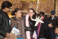 Sara Avendano (right) and her daughter (left) speak at the rally
