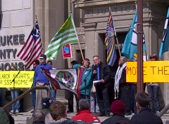Tom Burke of Committee to Stop FBI Repression speaking at Milwaukee rally
