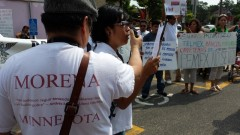 MORENA-MN protesta la privatizacion de Pemex.