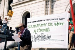 Jennie Eisert speaking at March 19 protest in St Paul, MN