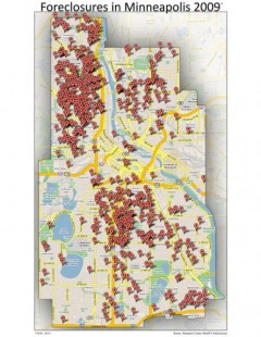 Map of housing foreclosures in 2009 in Minneapolis, MN