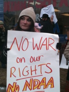 Protest against NDAA at Obama campaign headquarters, Feb. 3