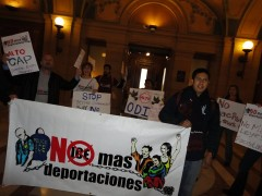 No More Deportations action at the State Capitol in May