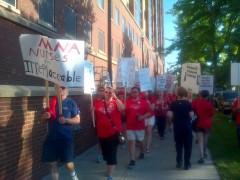 Striking MNA nurses on picket line earlier this year.