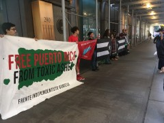NYC  solidarity with Puerto Rican march against Bayer-Monsanto, AES corporation