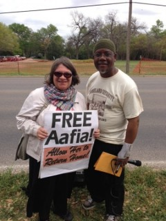 Jess Sundin and Mauri' Saalakhan at protest for Dr. Aafia Siddiqui
