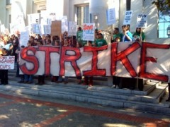 UC Berkeley students and workers on strike.