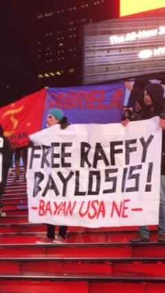 New York City protest demand freedom for trade union leader Rafael Baylosis.