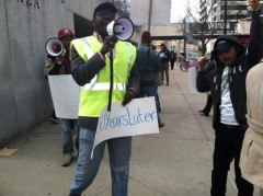 African American and Latino youth demand an end to racial profiling.