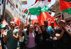 Ramallah march against the negotiations with Israel.