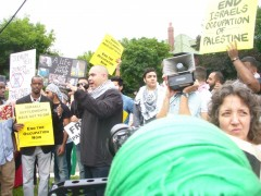 Sabry Wazwaz, of the Minnesota Anti-War Committee speaking at July 11 protest.
